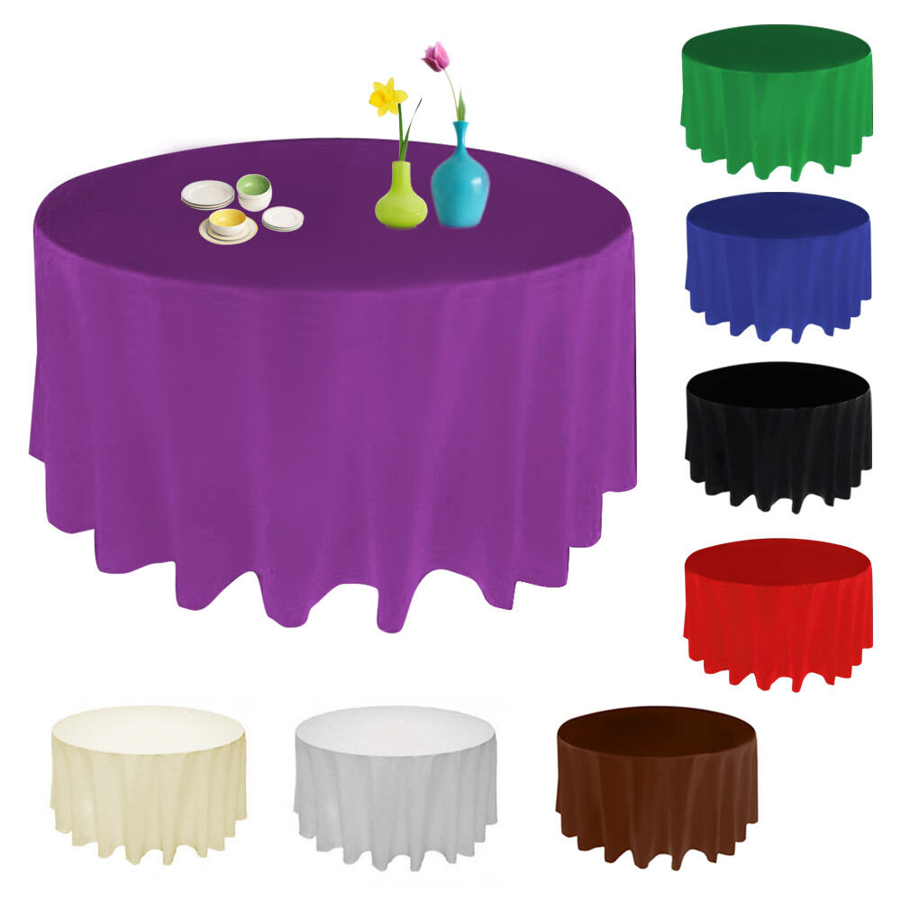 90 Inch Round Satin Tablecloth Table Cover Wedding Party