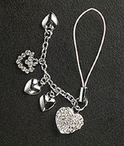 5 hearts cell phone charm for mobile phone mothers