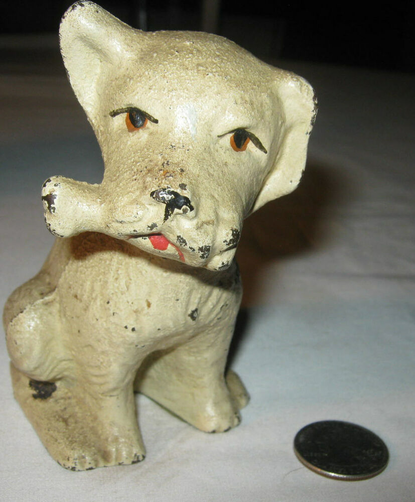 Antique sign usa hubley art deco dog bone cast iron doorstop statue door weight ebay - Cast iron dog doorstop ...