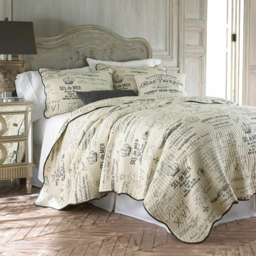 Histoire Paris FRENCH Vintage SCRIPT Cream Charcoal Grey