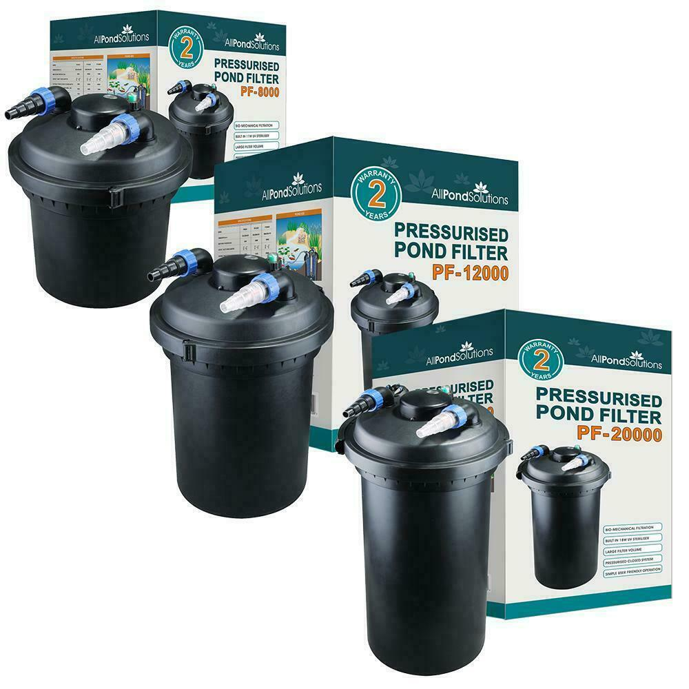 All pond solutions pf fish pond pressurised filter uv for Pond filter