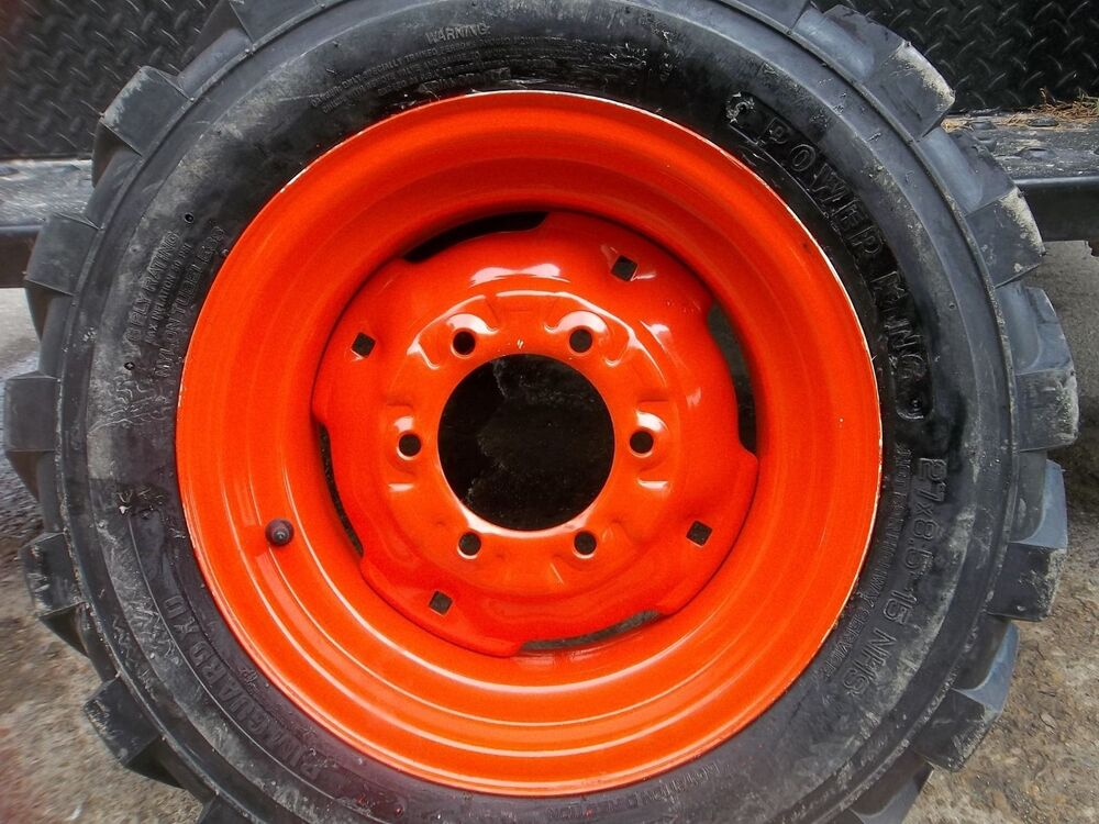 two 27 kubota l3400 loader skidsteer tubeless rim guard tires w wheels ebay. Black Bedroom Furniture Sets. Home Design Ideas