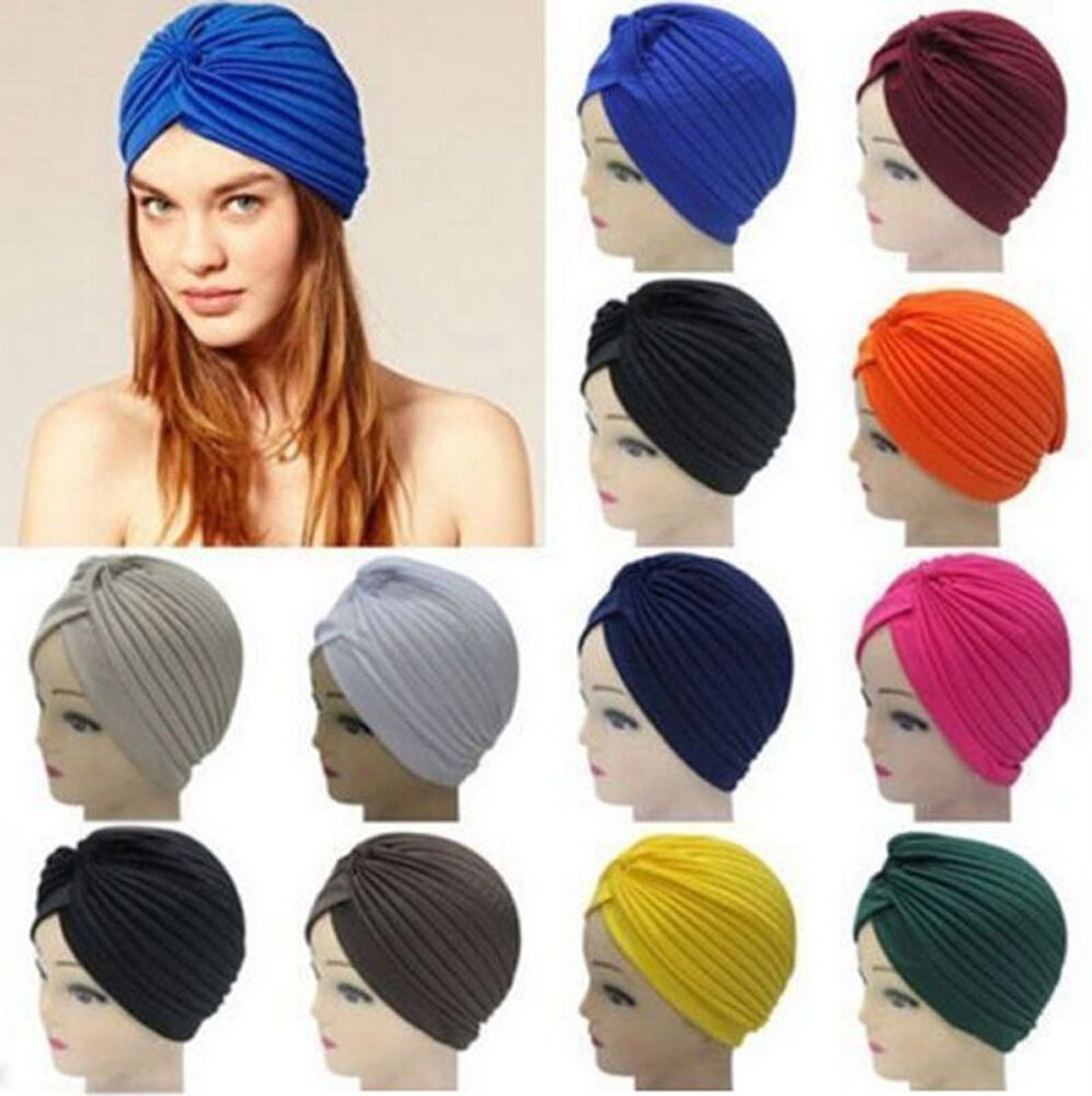 Women Men Indian Style Stretchable Turban Hat Hair Head