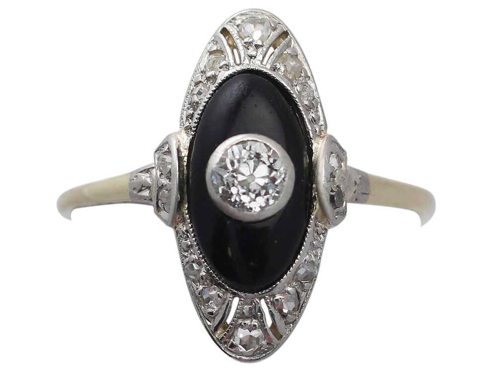 Diamond Onyx 14ct Yellow Gold Dress Ring Art Deco Antique Size P Ebay