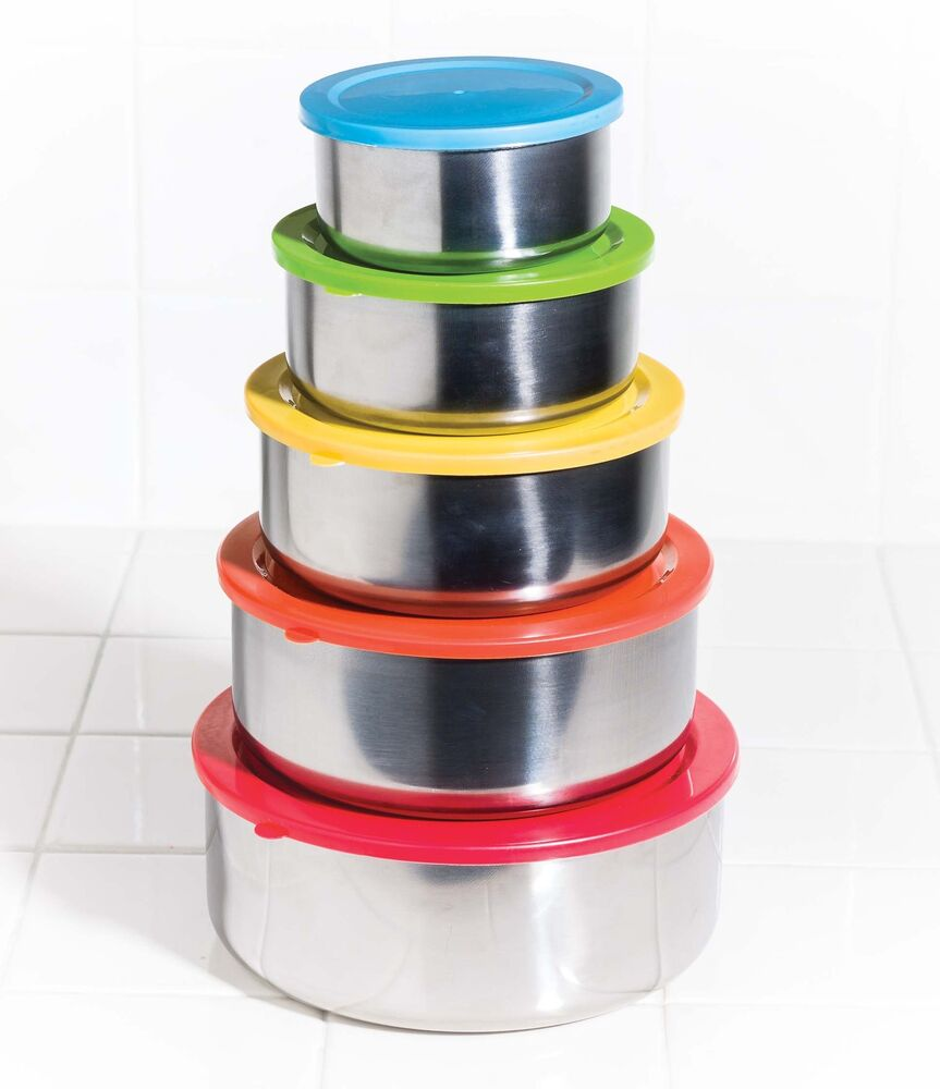 10 pc stainless steel mixing bowls food storage containers set w colored lids ebay. Black Bedroom Furniture Sets. Home Design Ideas