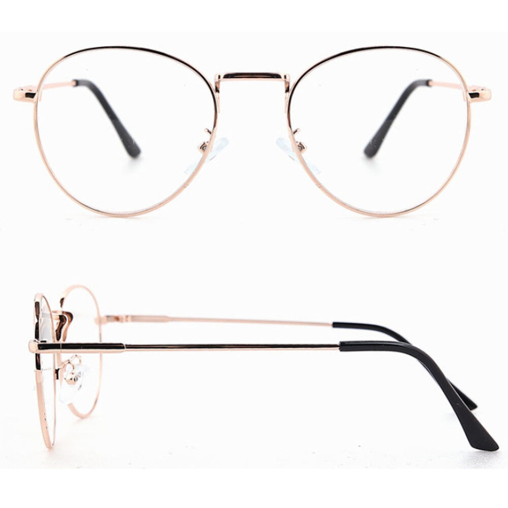 Old Eyeglass Frames New Lenses : Clear Lens Round New Glasses Metal Frame Vintage Fashion ...