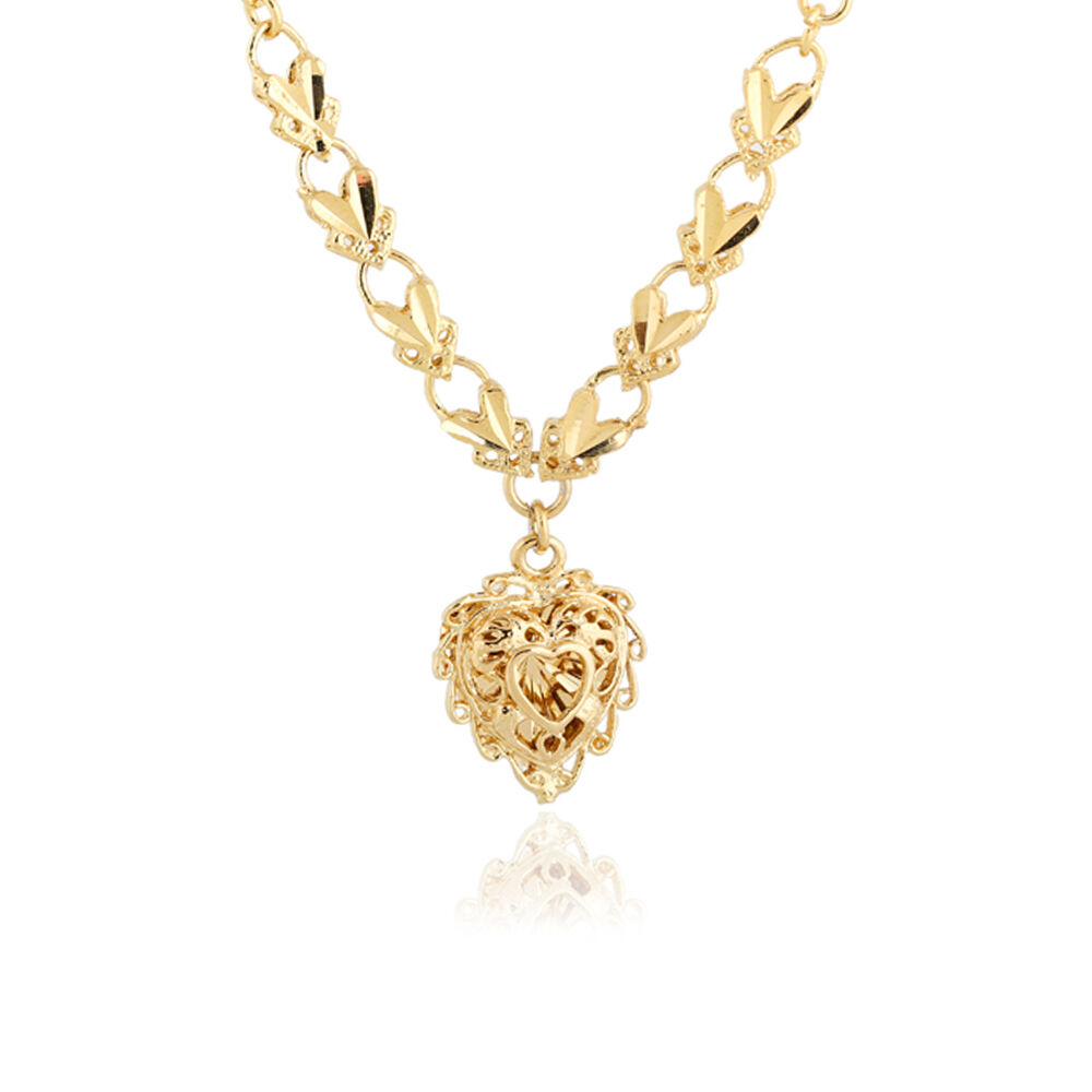 18K Yellow Gold Filled Vogue Woman's Heart Shape Pendant ...