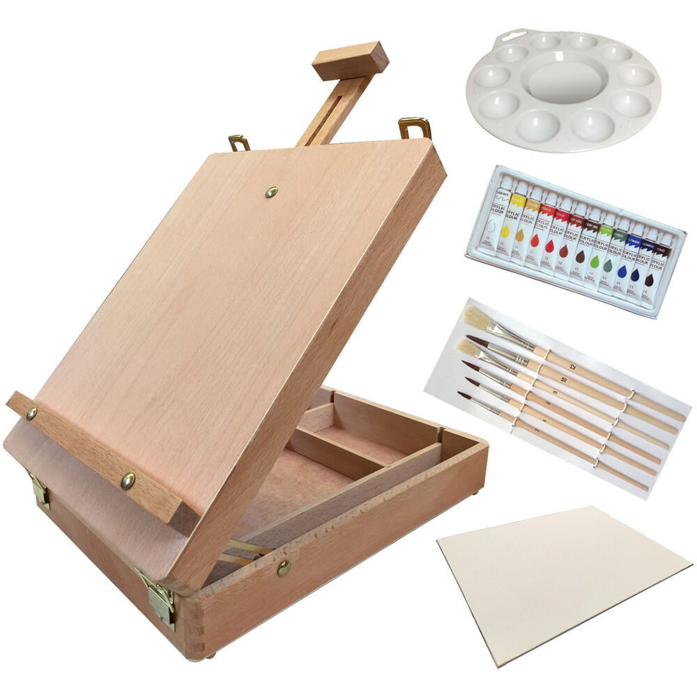 Acrylic Box Table : Acrylic kit wood table top sketch easel painting