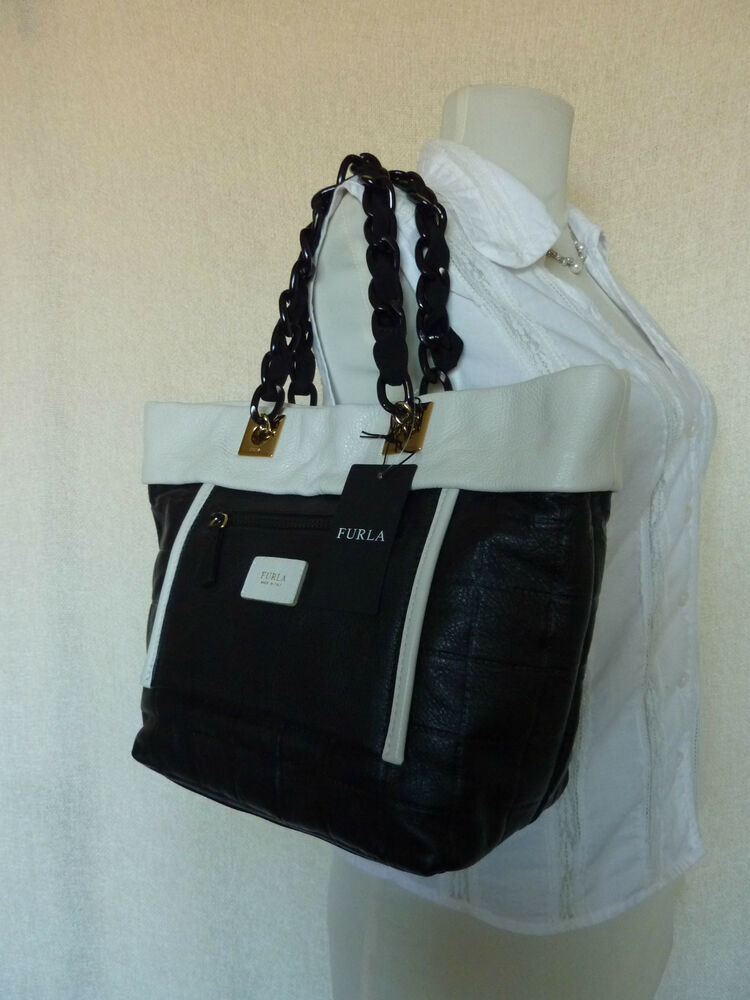 Nwt Furla Black White Quilted Leather Small Tribe Tote Bag
