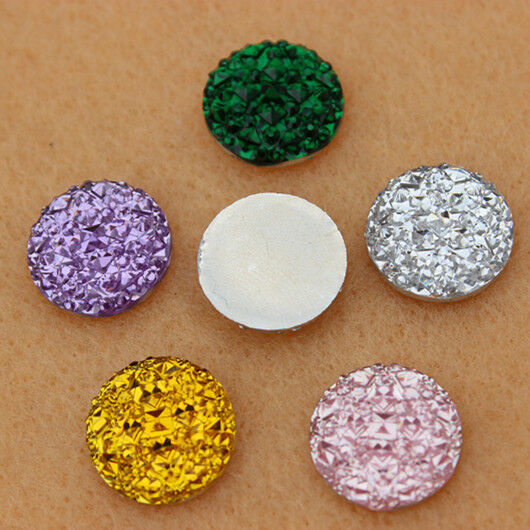 50pcs 14mm crystal resin rhinestones round flat back beads for Flat stones for crafts