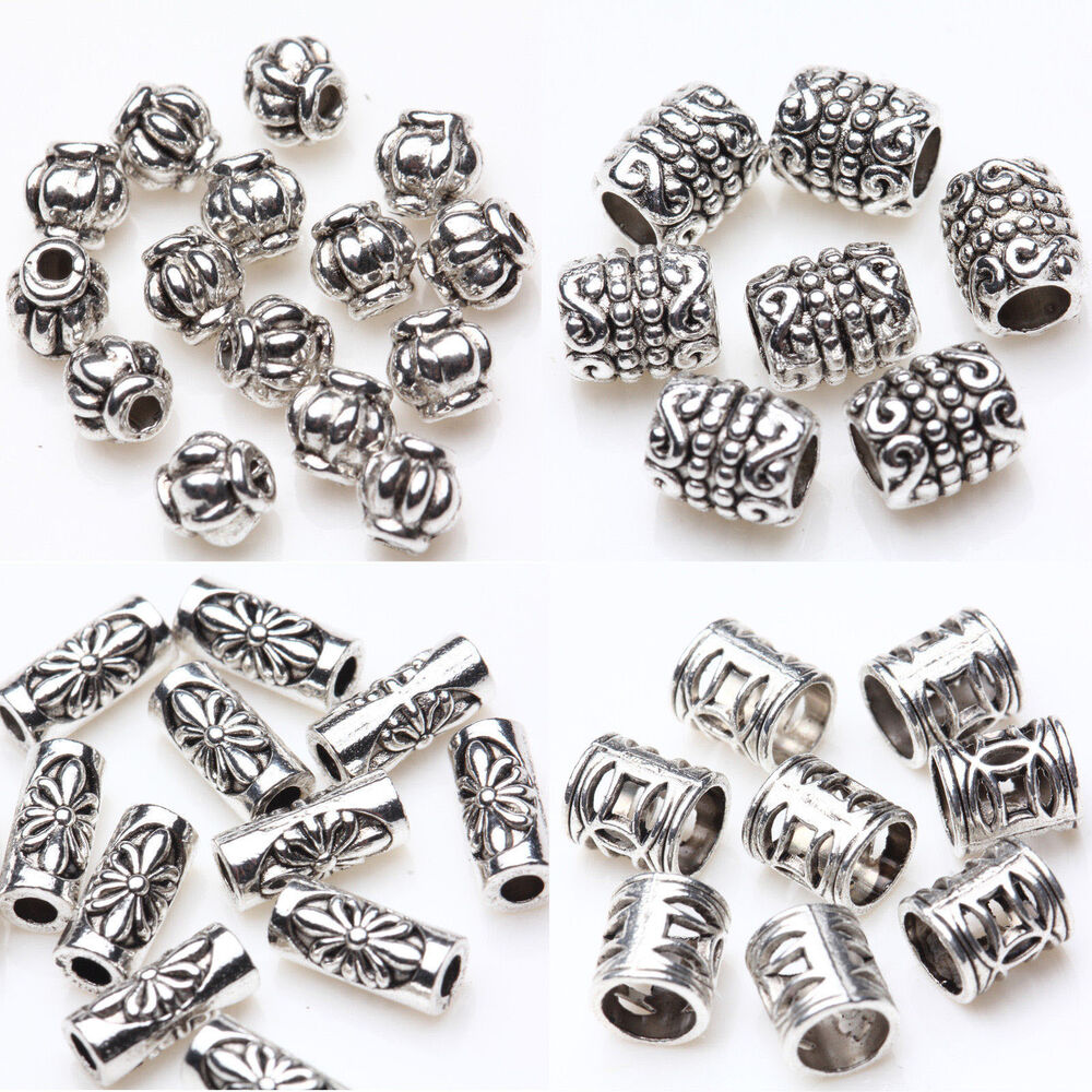 50 100pcs tibet silver tube loose spacer beads pendants