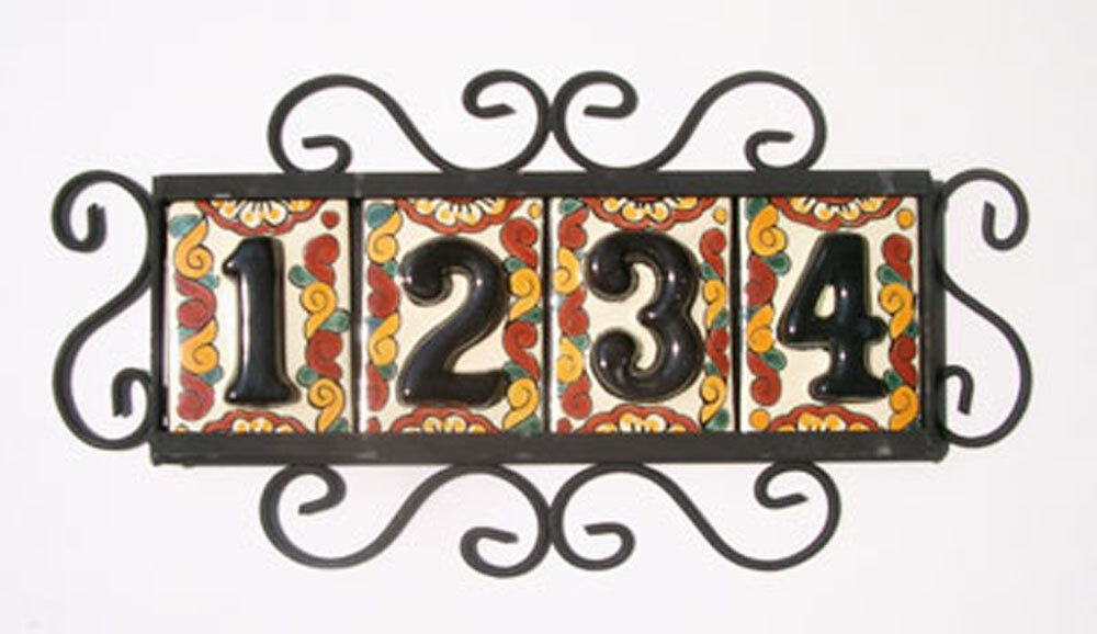4 black mexican tiles house numbers high relief for House number frames