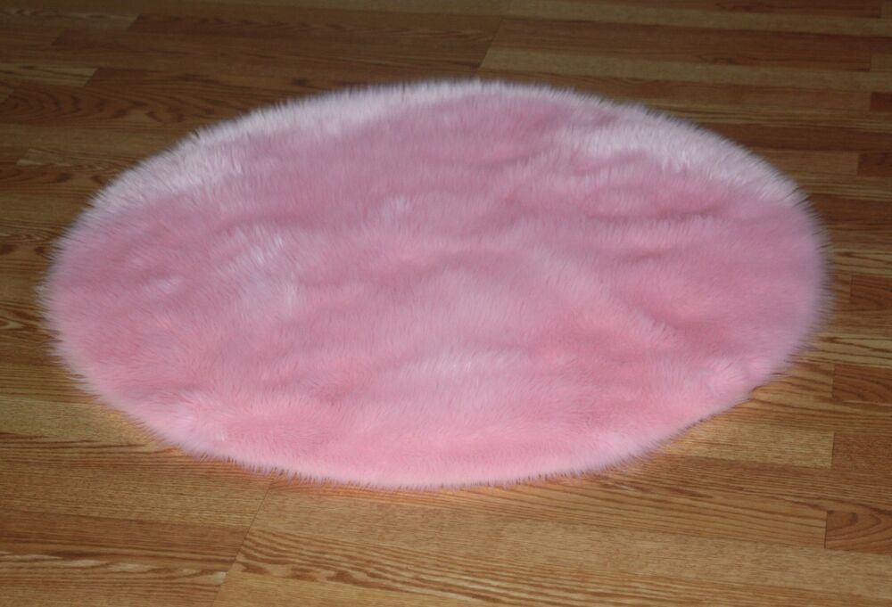 Pastel Pink Round Faux Fur Area Rug 4 9 Washable Non Slip
