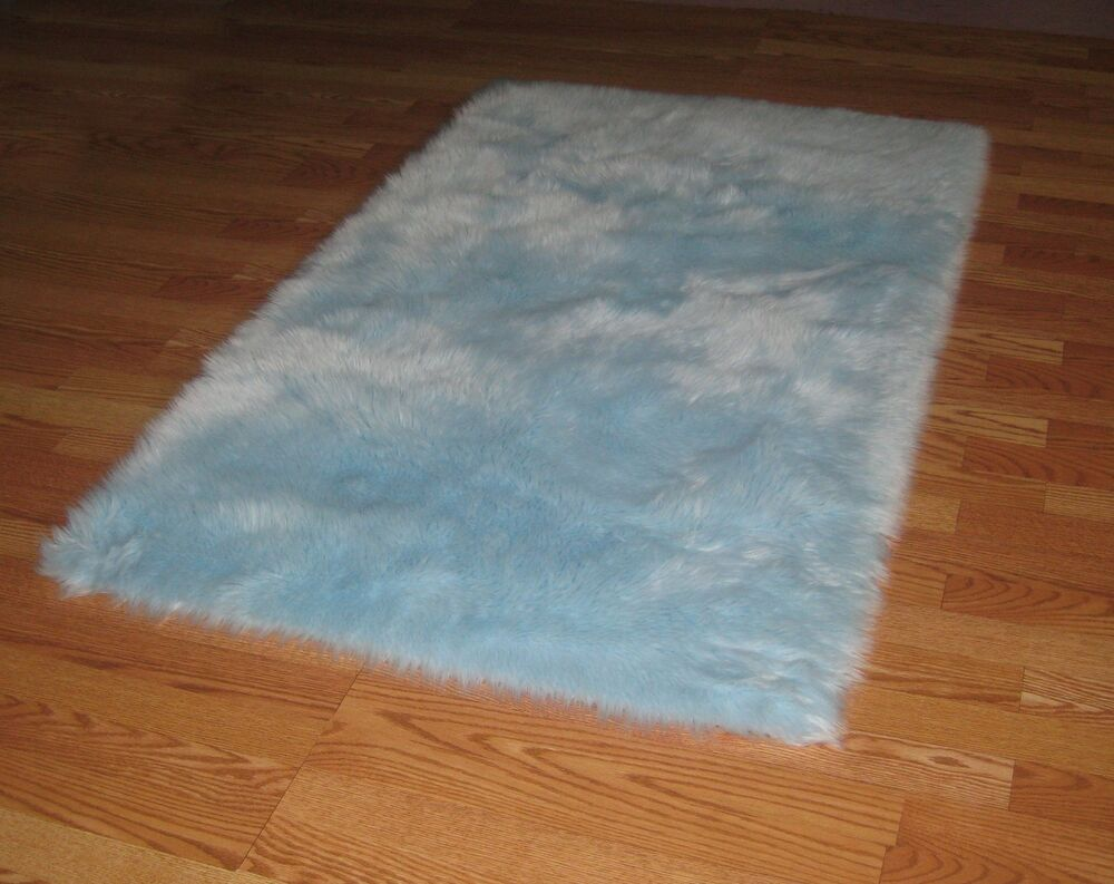 Baby Blue Flokati Faux Rug Soft Like Rabbit Fur 6 X 6