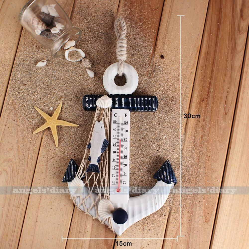 Wall hanging hook wooden anchor shape thermometer shell for Anchor decoration