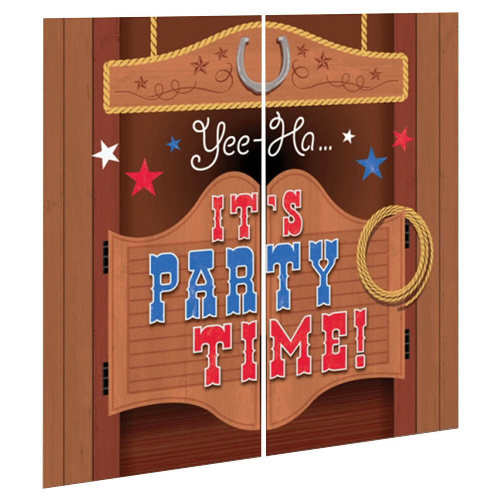 Wild west bandana western party saloon door scene setter for Decoration kit