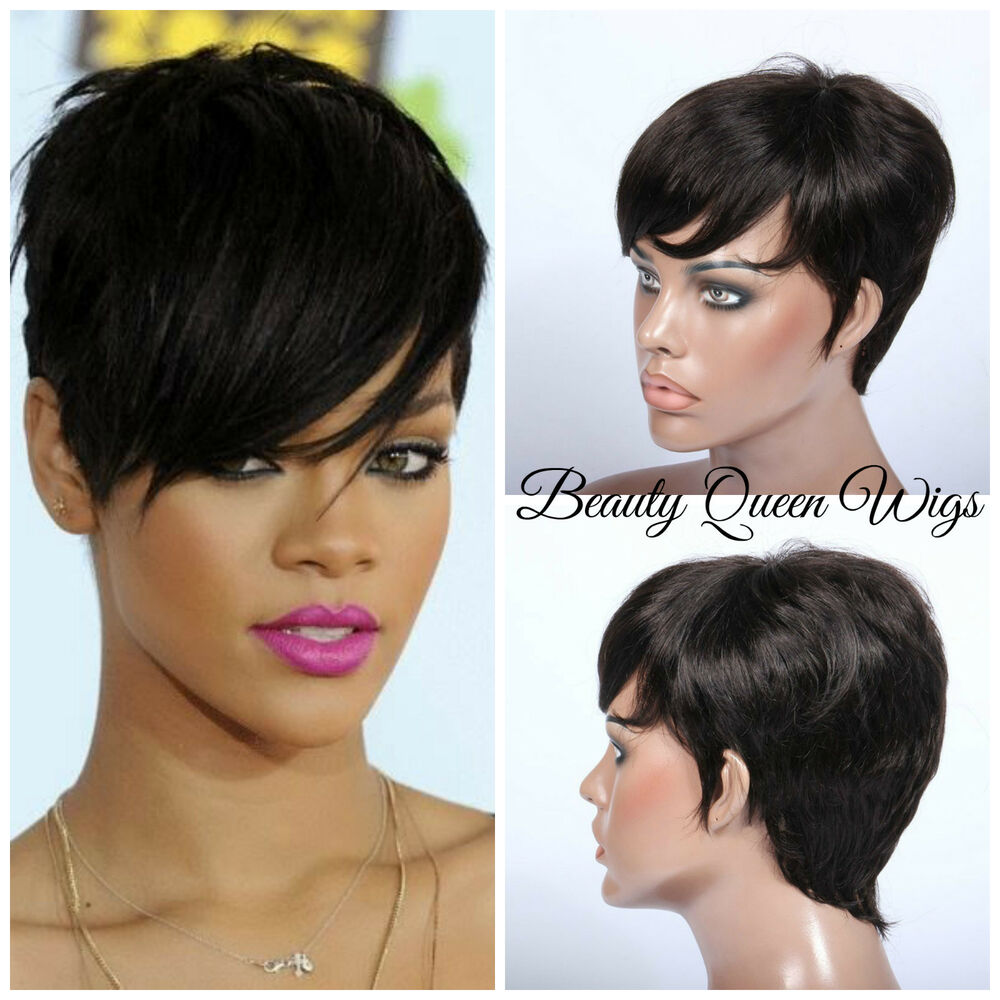 Rihanna Short Chic Cut Virgin Human Hair Remy Glueless Wig | eBay