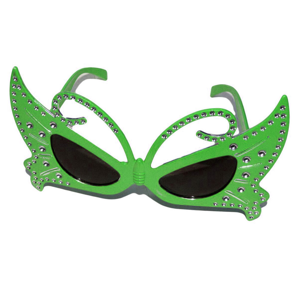 8a5ce906c8 Details about 3 x Diamante Green Butterfly Fancy Dress Glasses Novelty  Sunglasses Kids Adults