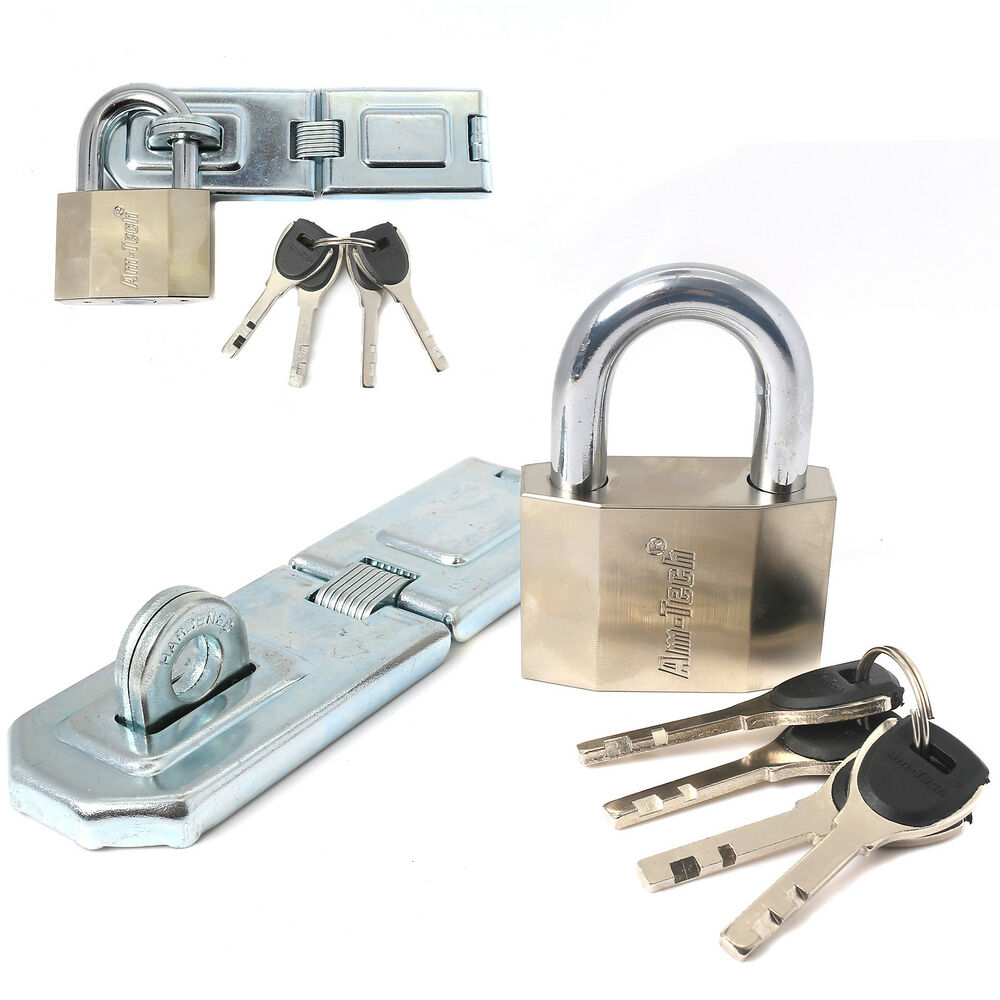 High Security Hinged Hasp Amp Staple Heavy Duty Padlock
