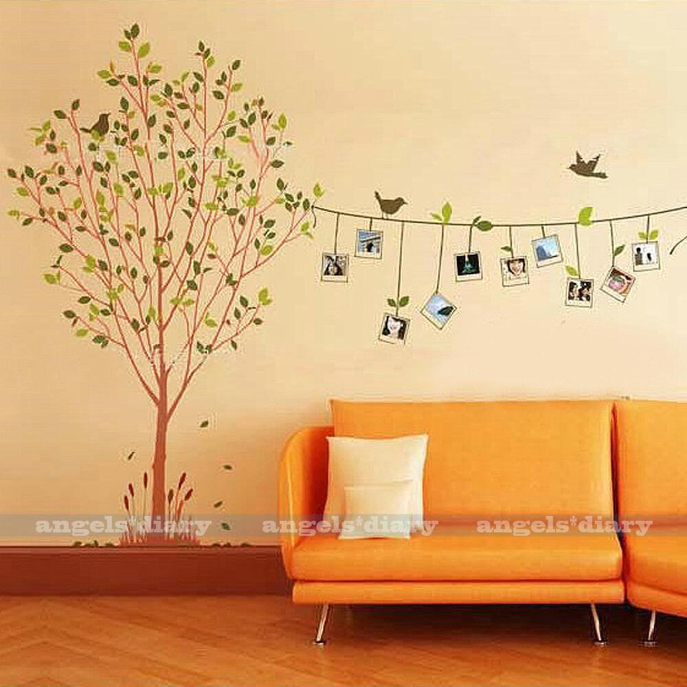 Home Art Decor Wall Decals ~ Removable photo frame tree vinyl art wall sticker decal