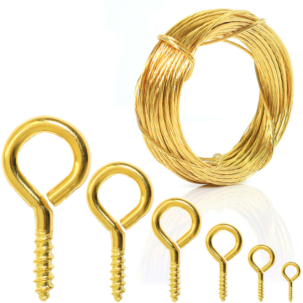 quality brass 100 pack screw eye hooks or 6m picture hanging wire frame ring ebay. Black Bedroom Furniture Sets. Home Design Ideas