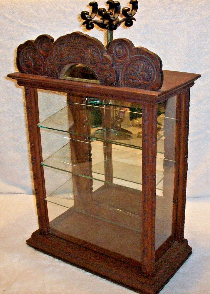 Antique Glass Display Case Pressed Wood Pattern Antique