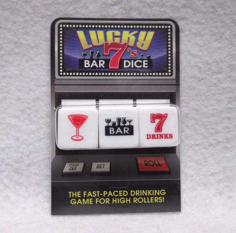 Lucky 7s bar dice drinking game man cave bday gag gift fun for Food bar drinking game
