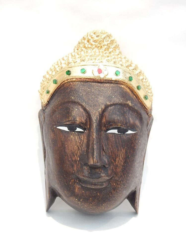 Buddha mask hand carved wood pained wall hanging home