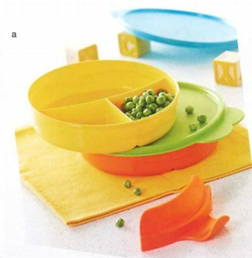 Sectioned Tupperware: Tupperware Kids Divided Dish Set & Handle Green & Orange