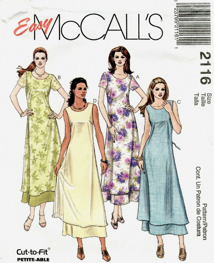 McCalls 2116 Misses 2 Layered Pull-On Dress Sewing Pattern