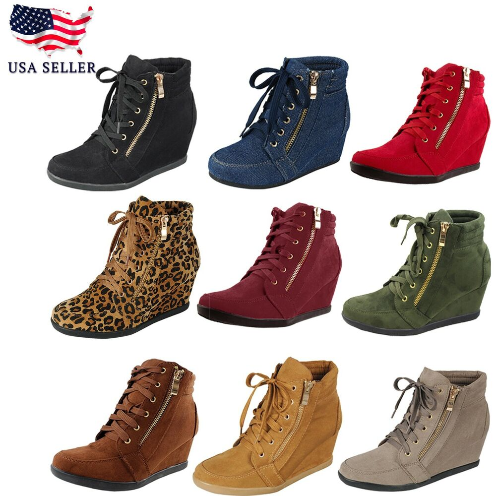 Women High Top Wedge Heel Sneakers Platform Lace Up Tennis ...