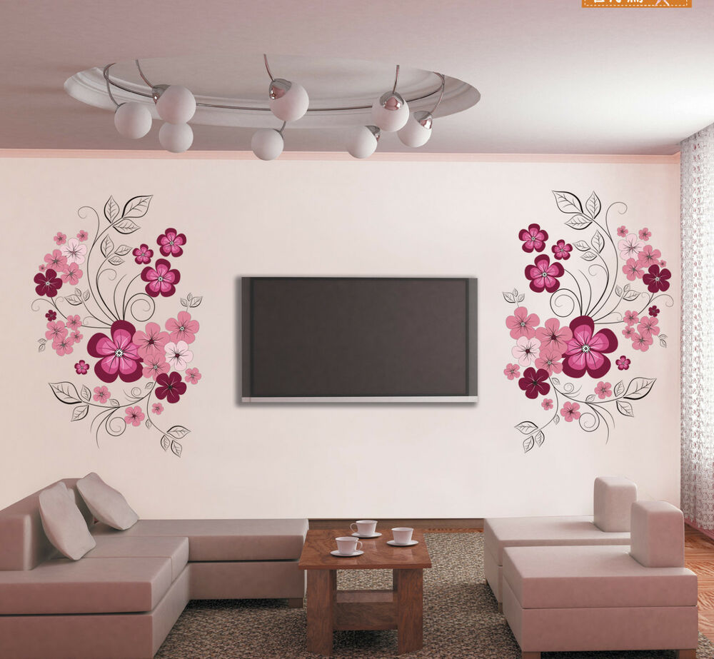 wandtattoo wandaufkleber sticker blumen wohnzimmer wanddeko wandbilder ebay. Black Bedroom Furniture Sets. Home Design Ideas