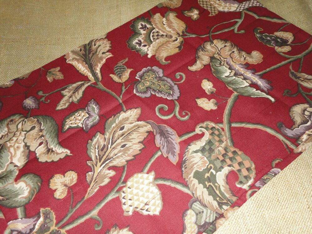 Waverly red jacobean tailored blouson valance green taupe floral 17 x