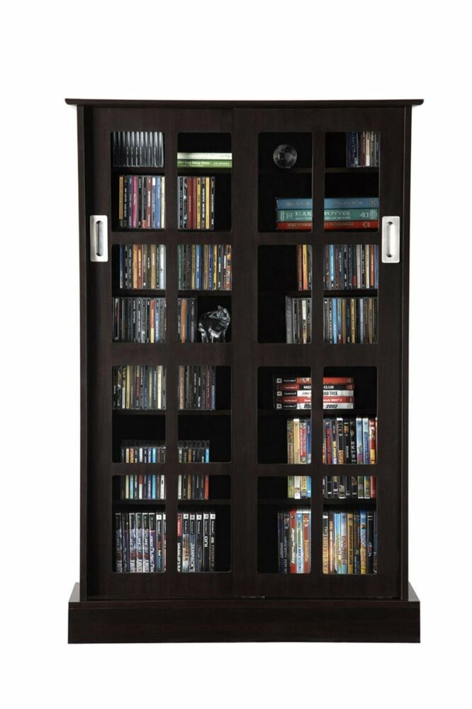 Dvd Storage Cabinet ~ Media storage cabinet rack shelf glass door windowpane dvd