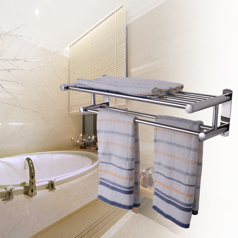 Double Rows Wall Mounted Bathroom Towel Rail Holder
