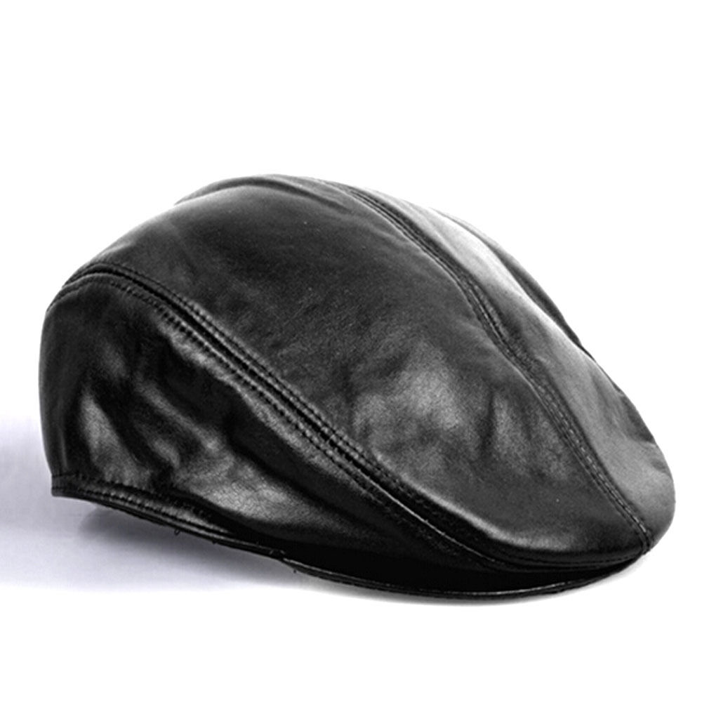 Men S Fashion Leather Hats Ivy Newsboy Driver Leather