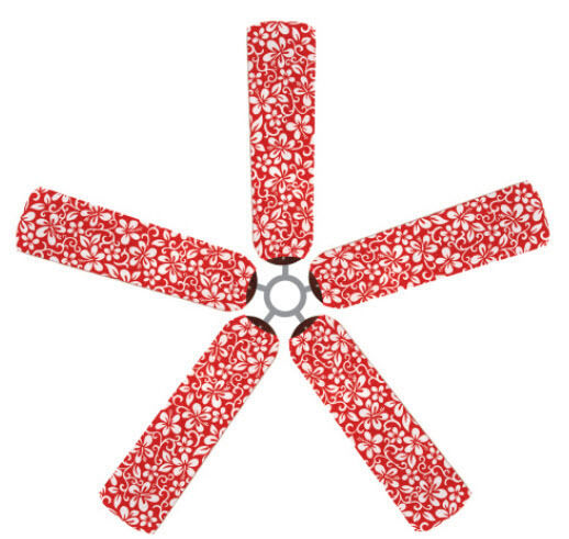 Tropical Ceiling Fan Blades Covers: Ceiling Fan Blade FABRIC Cover TROPICAL Red Flowers Home