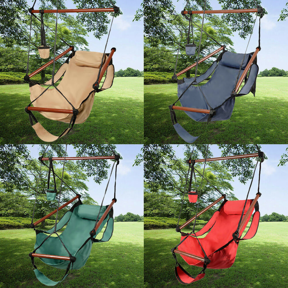 Outdoor Indoor Hammock Hanging Chair Air Deluxe Swing Chair Solid Wood 250lb