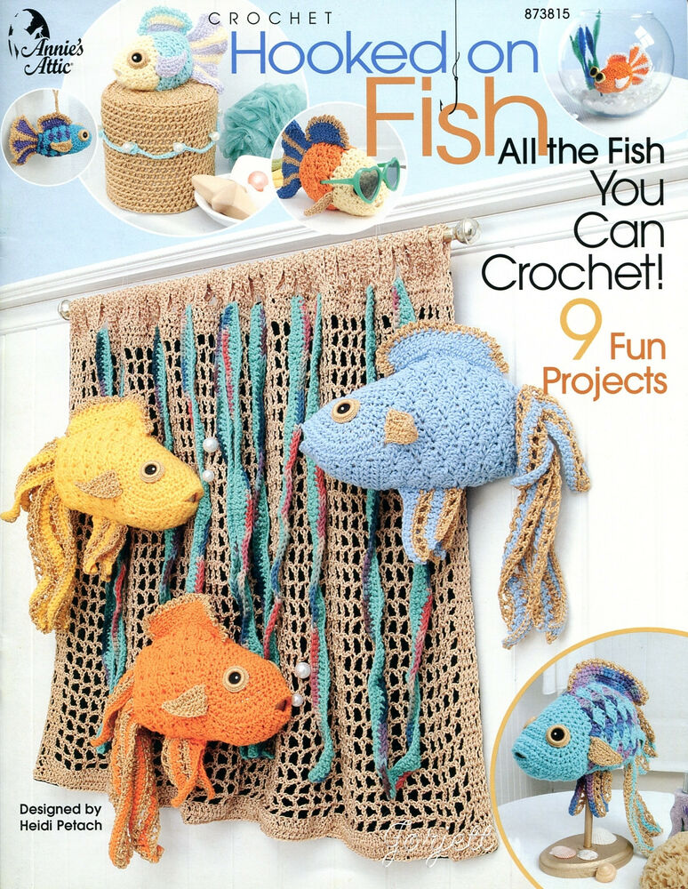 Free Crochet Fish Pillow Pattern : Hooked on Fish Annies Crochet Patterns RARE eBay