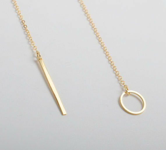 ... Shaped Gold Plated Bar Circle Lariat Style Necklace Women Gift   eBay