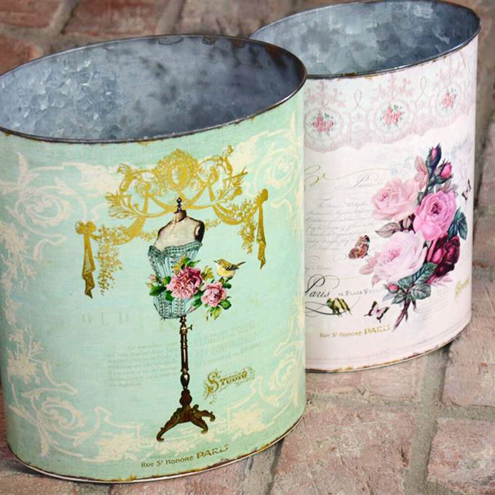 Shabby Cottage Chic Rose Nesting Trash Cans Set 2 Pink