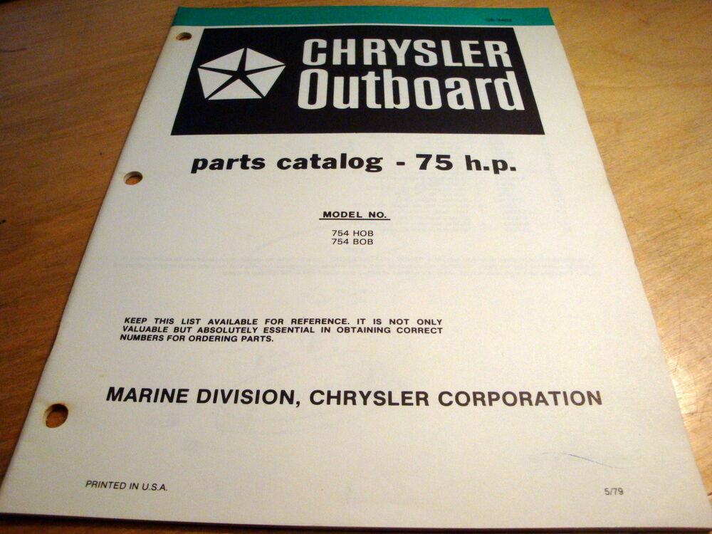 Chrysler marine 75 hp 754hob 754bob outboard motor parts for Outboard motor parts online