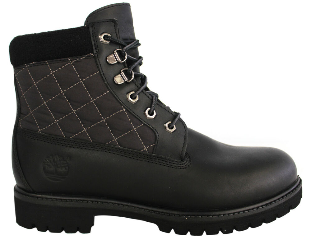 timberland 6 inch panel boots black leather mens 48525 u68