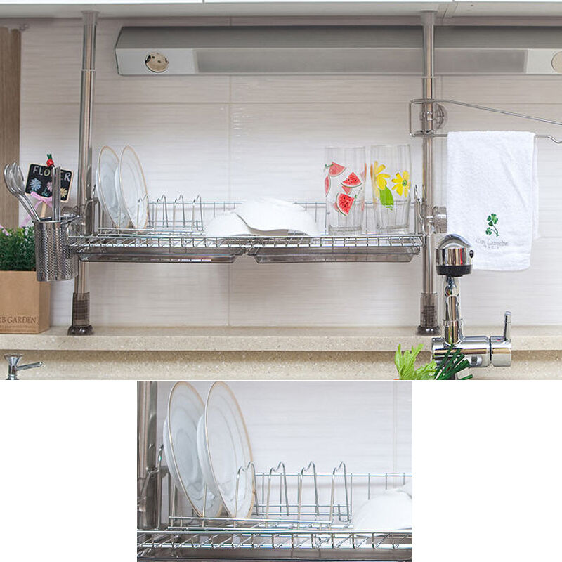 Stainless pillar 1 tiers dish drying rack drainer dryer tray kitchen organizer ebay - Kitchen sink drying rack ...