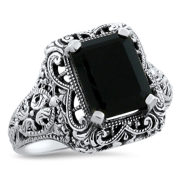 ... BLACK ONYX ANTIQUE DESIGN .925 STERLING SILVER RING, #584  eBay
