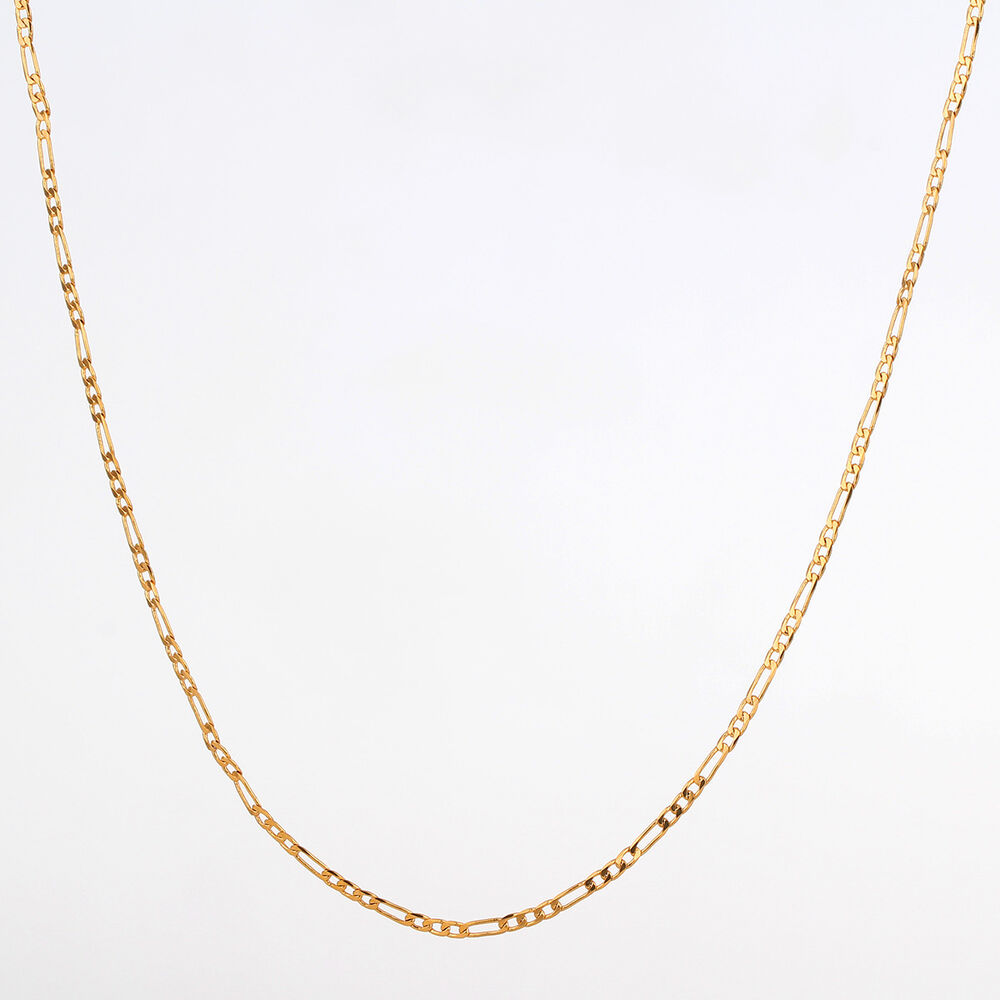 Thin Gold Chain Bracelet: 18K Yellow Gold Filled Long Figaro Chain Thin Necklace
