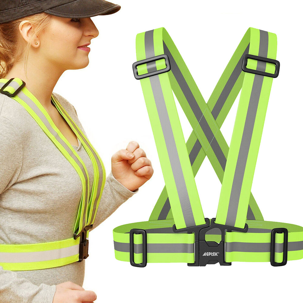 reflective vest harness high visibility running walking sport cycling safety new ebay. Black Bedroom Furniture Sets. Home Design Ideas