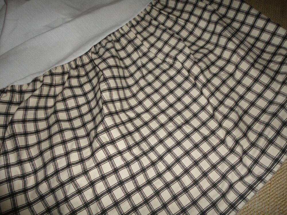 Waverly black check twin full or queen bedskirt black cream check 14