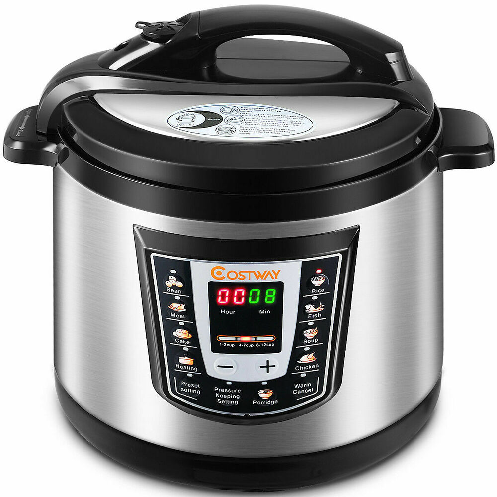 New Electric Pressure Cookers ~ Costway watt quart electric pressure cooker brushed