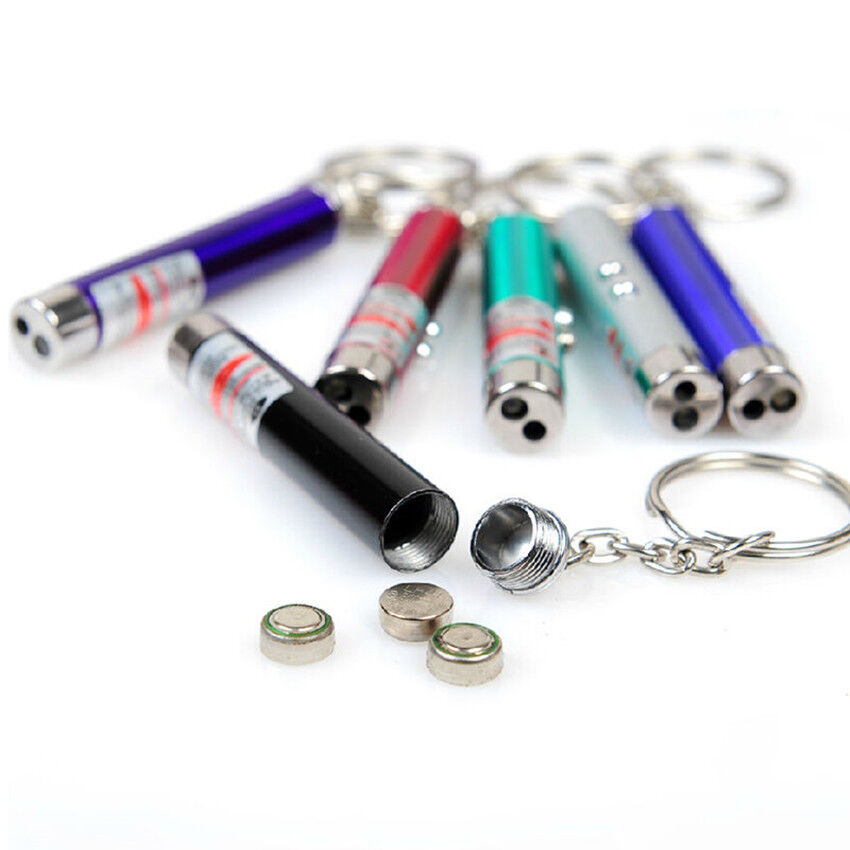 Strong Light Mini Red Laser Pen LED Flashlight Keychain ...